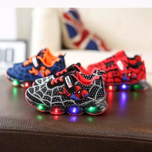 Foto Produk Sepatu Led Anak Import sz 21-30 Model Spiderman Fashion dari Janet Shop
