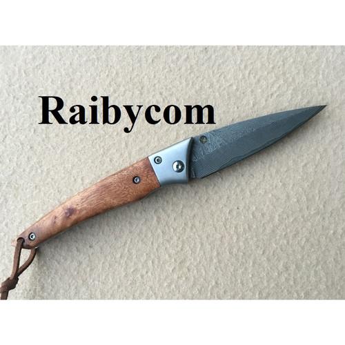 Foto Produk Pisau Lipat Baja Damaskus Handle Kayu Damascus Pocket Folding Knife dari Raibycom