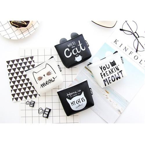 Foto Produk DK008 Dompet Koin Black and White Cat / Coin Wallet / Tempat Kosmetik - where dari EnnWen Online Store