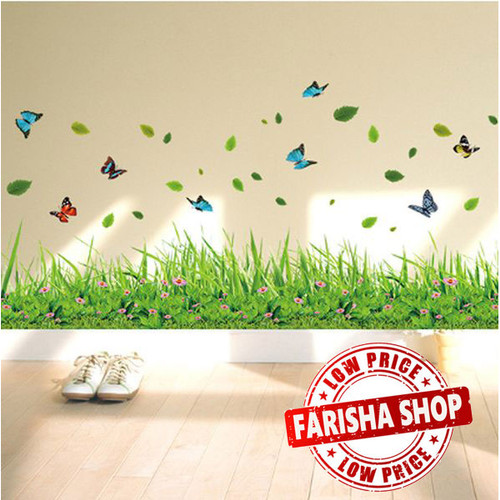 Foto Produk Grass & Butterfly II XL7180 - Stiker Dinding / Wall Sticker (50x70) dari farisha shop