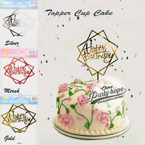 Foto Produk Cake Topper Happy Birthday HBD Tusukan Hiasan Kue Acrylic JUMBO murah dari PARTY HOPE 2