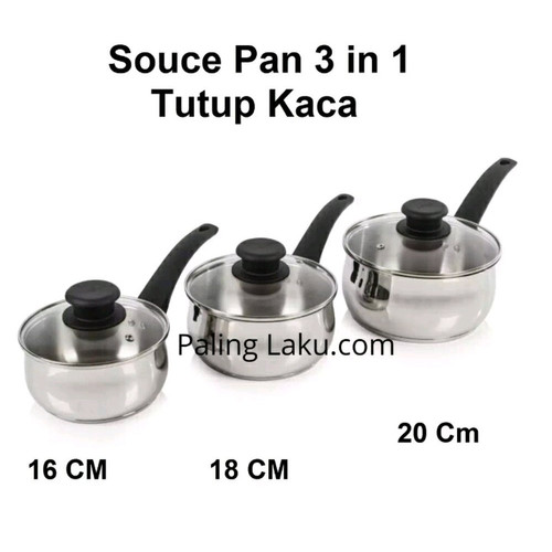 Foto Produk Panci Souce Pan 3 in 1 Stainless Stell - 16 cm, 18 cm, 20 cm dari Cellis Houseware