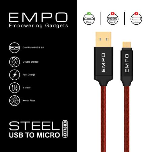 Foto Produk PREMIUM Kabel Charger EMPO STEEL Micro USB 2.4 A Braided Nylon Red dari EMPO
