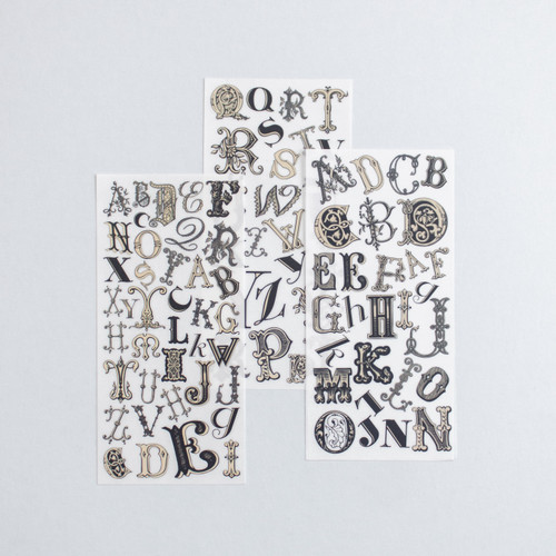 Foto Produk Rub-on Sticker Vintage Elaborate Alphabet dari gudily