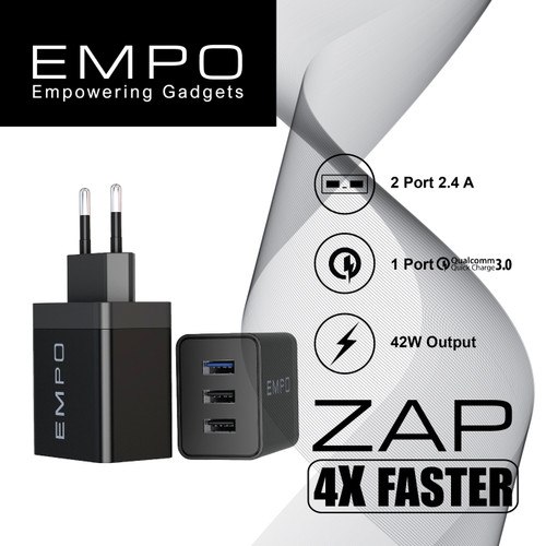Foto Produk EMPO ZAP Quick Charge 3.0 Wall Charger Fast Charging 3 Port dari EMPO