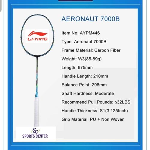 Foto Produk PROMO !! Raket Badminton Lining AERONAUT 7000B / 7000 Boost dari Sports Center