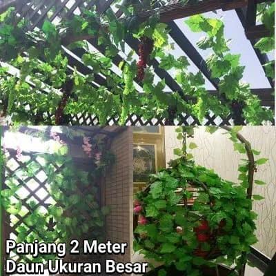 Foto Produk (2meter) Daun Rambat Tanaman Hias Sulur Palsu Plastik Dekorasi Rumah dari toys village