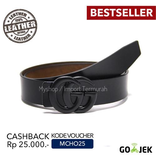 Foto Produk Gesper Sabuk Ikat Pinggang Kulit Asli Pria Cowo GG Black dari Toko Import Termurah
