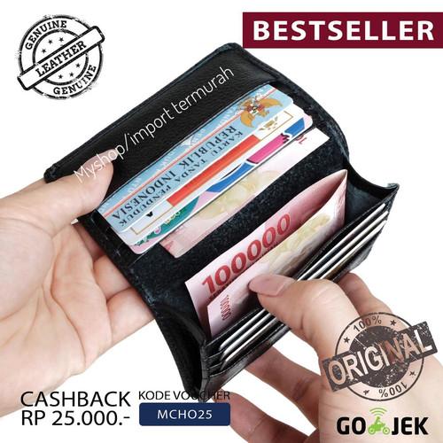 Foto Produk Dompet Kartu Kulit Asli Pria Wanita Card Holder 23 Black dari Toko Import Termurah