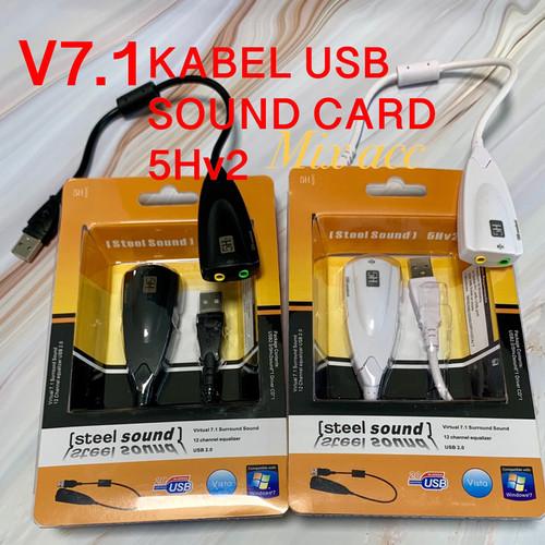 Foto Produk Sound Card USB Virtual 7.1 Channel / Audio Mic Soundcard USB - 5Hv2 - - Putih dari mix acc888