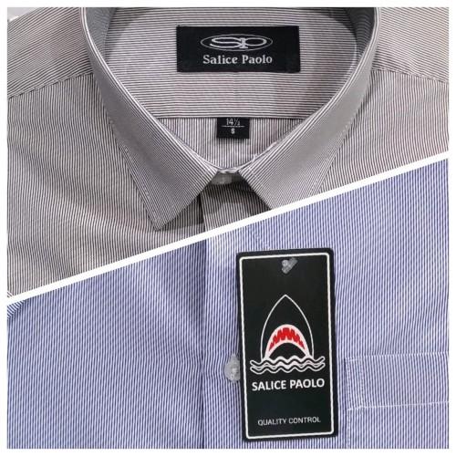 Foto Produk Kemeja Pria Salice Paolo Reguler Pendek Salur Stripe Tipis Abu Biru - Abu-abu, L dari Mega Hero Shirts