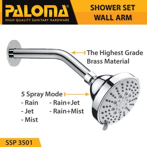 Foto Produk PALOMA SSP 3501 Shower Set Wall Tanam Mandi Head Kepala Tembok Paket dari PALOMA HARDWARE