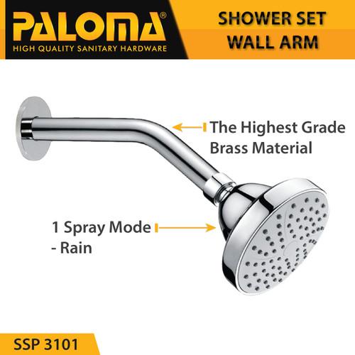 Foto Produk PALOMA SSP 3101 Shower Set Wall Tanam Mandi Head Kepala Tembok Paket dari PALOMA HARDWARE