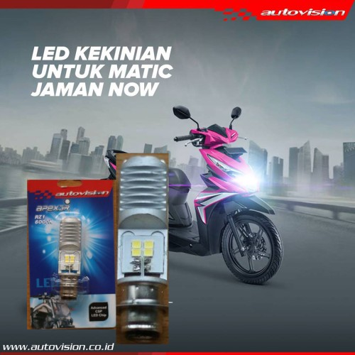 Foto Produk Lampu LED Motor AUTOVISION Honda Beat FI (putih) Bohlam RZ1 Grs 6bln dari Bohlam HID