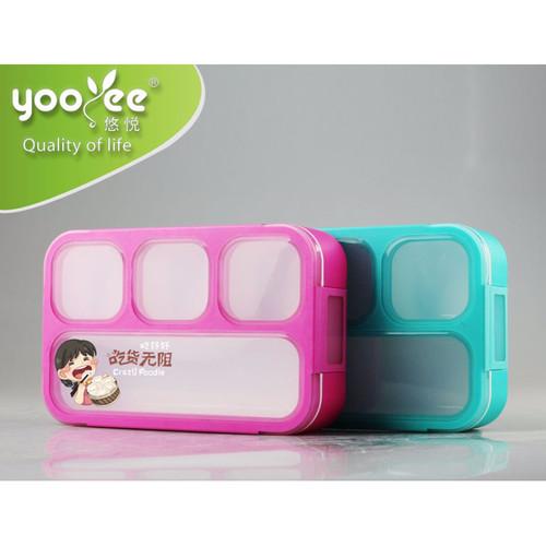 Foto Produk 605 Lunch Box Kotak Makan Yooyee bento kotak bekal untuk anak-anak - biru dari laris_88 computer