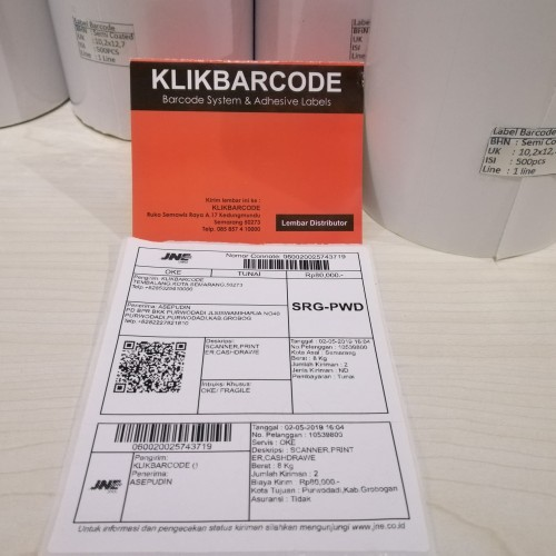 Foto Produk Label barcode resi JNE Semi Coated 102x127mm 1Line 500pcs Gap3mm dari klikbarcode