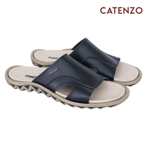 Foto Produk CATENZO Sandal Slide Kulit Asli Hitam Krem Pria TU 044 dari artatikashop