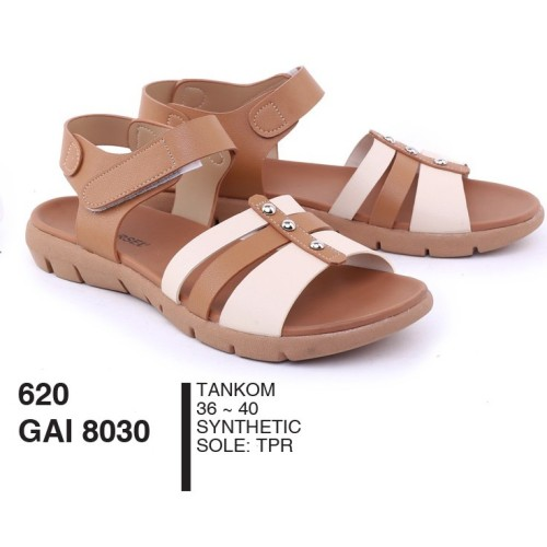 Foto Produk Sandal Wanita Dewasa Selop Tali Belakang Synthetic Tan By Garsel Footw dari artatikashop
