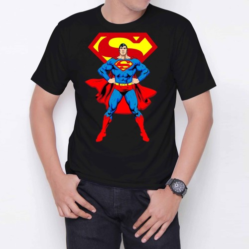 Foto Produk Superman Fly W6701 Kaos Distro Wanita Pria Warna Hitam Ukuran M,L,XL dari Case Republica