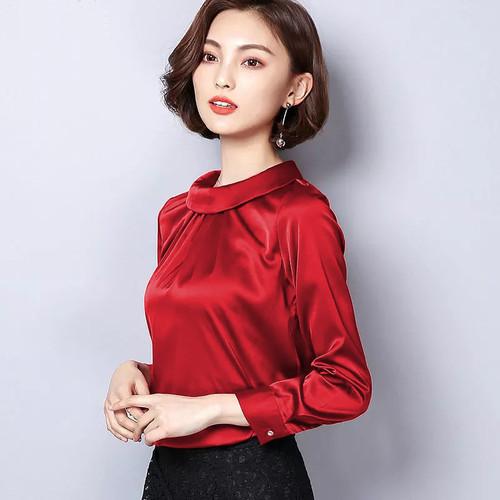 Foto Produk Blouse leher tinggi Wanita Gaya Korea Model Terbaru - jfashion Eunike - Merah, M dari j--fashion
