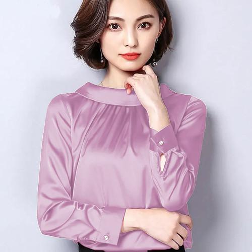Foto Produk Blouse leher tinggi Wanita Gaya Korea Model Terbaru - jfashion Eunike - Merah Muda, M dari j--fashion