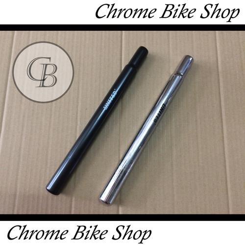 Foto Produk Seatpost Tiang Sadel Sepeda 25.4 Besi Hitam Silver 30cm United - Hitam dari Chrome Bike Shop