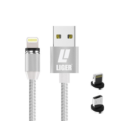 Foto Produk LIGER kabel charger magnetic LED 2in1 IPHONE & MICRO for Samsung Oppo - Putih dari LIGER OFFICIAL STORE