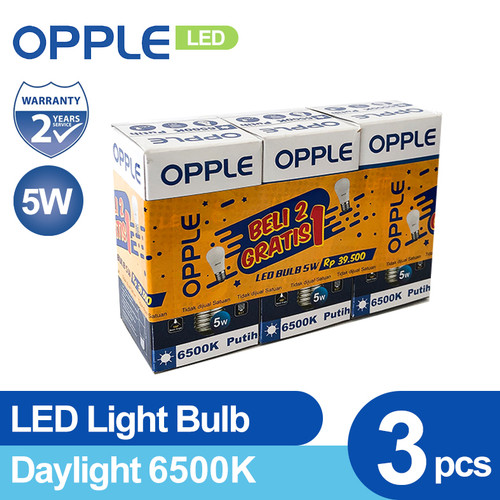 Foto Produk OPPLE LED EcoMax Bulb 5 Watt (Special Pack 2 FREE 1) - Kuning dari Opple Official Store