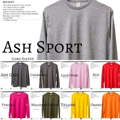 Foto Produk Kaos Polos Oblong ES Long Sleeve 100% Cotton 30s SERI 1 pria wanita - Orange, M dari KaosPolosManado