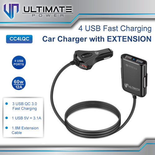 Foto Produk Ultimate Power 4USB Fast Charging Car Charger with Extension dari Ultimate Power Official