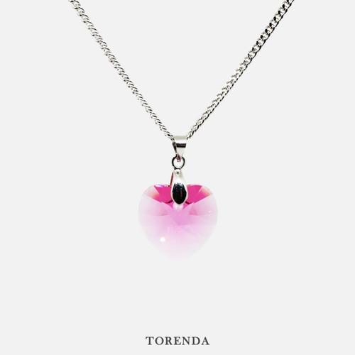 Foto Produk Torenda Kalung Liontin Love Pendant with Swarovski - Rose (M.Muda) - Merah Muda dari TORENDA