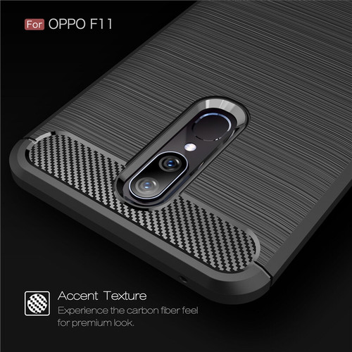 Foto Produk OPPO F11 Case Shockproof Auto Focus Carbon Premium Soft TPU F 11 - Hitam dari ROTI PANGGANG OnlineShop