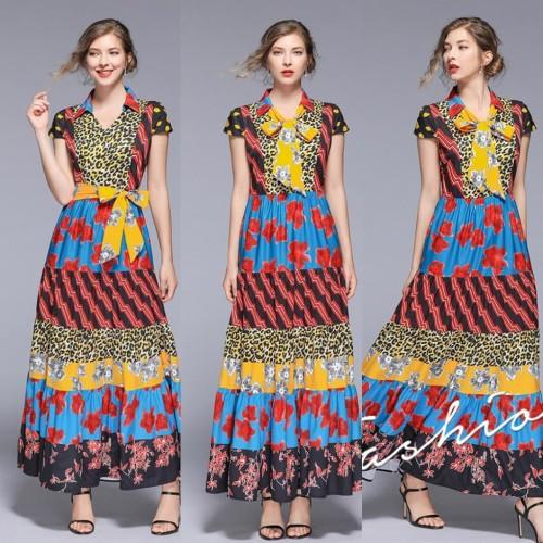 Foto Produk 26155 Mix Pattern Long Dress withBelt(size L)/ PREMIUM IMPORT HONGKONG dari DressWell_StayClassy