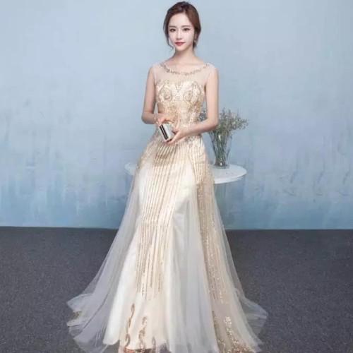 Foto Produk Gaun pesta gold - bridesmaid dress gold - gaun mama - gaun sangjit - Soft Gold dari Gaunweddingcom Tangerang