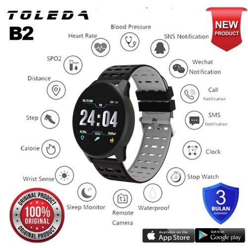 Foto Produk Toleda Smartwatch TLW B2 Original 100% Smartband - Hitam-AbuAbu dari Toleda Indonesia