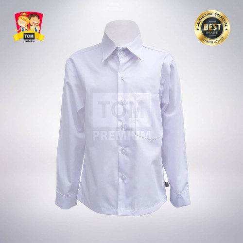 Foto Produk Seragam TOM - Kemeja Putih Polos Tangan Panjang (Anak) - No 4 dari Tom Uniforms