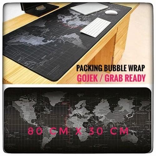 Foto Produk Mousepad Gaming Besar Motif Peta Dunia 80 x 30 cm - Black dari ZigZag-Store