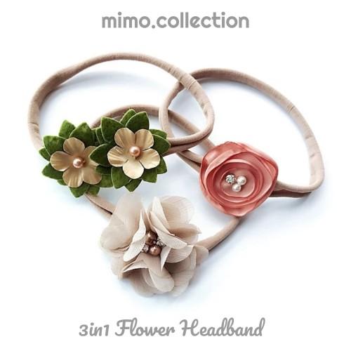 Foto Produk 3in1 Flower Headband Baby 3pcs Bando Bandana Bunga Pita Anak Bayi dari Mimo collection