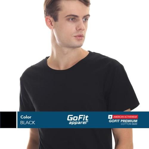 Foto Produk GoFit Cotton Combed 30S Black Kaos Pria kaos polos nsa gildan - M dari Gofit Apparel