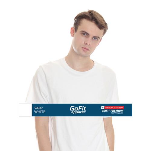 Foto Produk GoFit Premium Cotton 8600 White Kaos Pria kaos polos nsa gildan - M dari Gofit Apparel