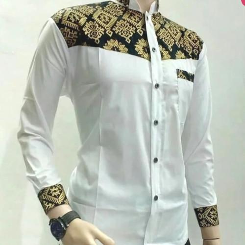 Foto Produk Elegan Unik Baju Koko Batik Putih Emas FB01 Lengan Panjang Putih XL Be dari Divha Store
