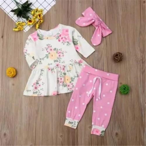 Foto Produk setelan baju bayi polkadot pink flower cantik dari celestial_babyshop