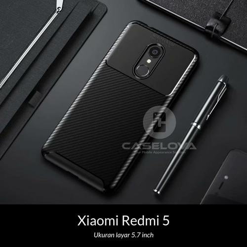 Foto Produk Case Xiaomi Redmi 5 Synthetic Fiber Silicone Protective Carbon - Hitam dari Caselova Store