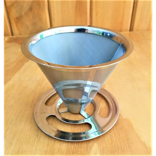 Foto Produk Coffee Drip Cone Pour 9cm Stainless Steel Fillte Kopi Corong dari Henbao Berjaya