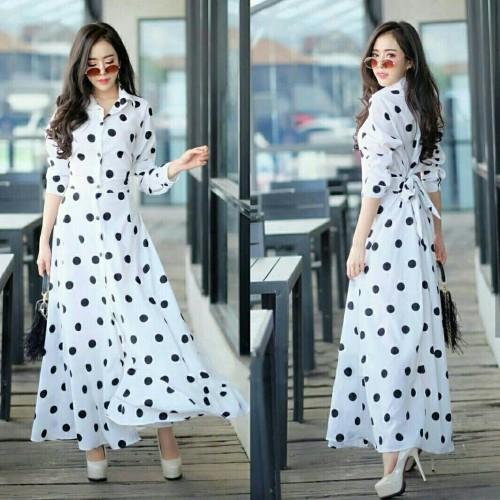 Foto Produk Long Dress Maxi Gamis Polka Putih dari HER'Z SHOP