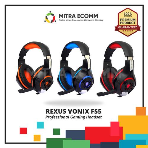 Foto Produk Rexus F55 Headset Gaming Vonix with Mic LED F-55 - Biru dari Mitra Ecomm