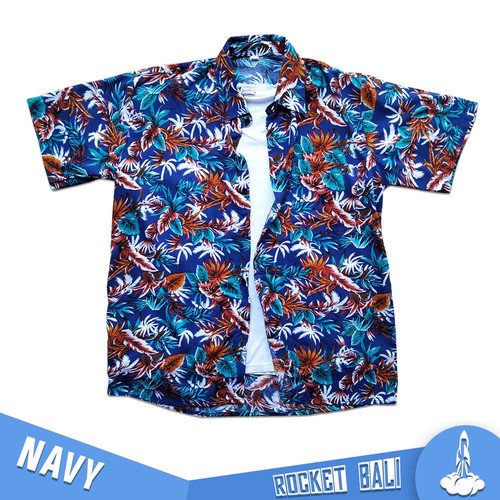 Foto Produk Kemeja Pantai Hawai - Baju Kemeja Surfing - Kemeja Pantai Dewasa - Navy, M dari Rocket Bali