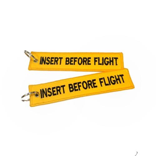 Foto Produk Keychain Keytags Gantungan Kunci Bordir INSERT BEFORE FLIGHT yellow dari AB Embroidery Store