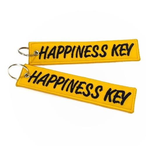 Foto Produk Keychain Keytags Gantungan Kunci Bordir HAPPINESS KEY Premium dari AB Embroidery Store