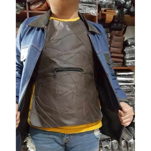 Foto Produk Rompi Kulit Vest Penahan Angin Motor Pelindung Dada 1 Sisi Saku Depan dari lbagstore